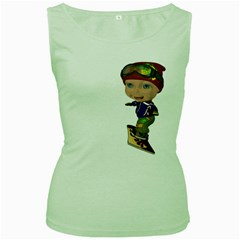 Snowboarder 3 Womens  Tank Top (Green)