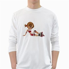 Skater Girl 1 Mens' Long Sleeve T-shirt (White)