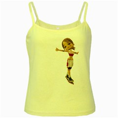 Skater Girl 2 Yellow Spaghetti Tank