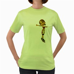 Skater Girl 2 Womens  T-shirt (Green)