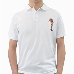 Skater Girl 2 Mens  Polo Shirt (White)