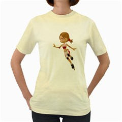 Skater Girl 3  Womens  T-shirt (Yellow)