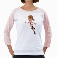 Skater Girl 3 Womens  Long Sleeve Raglan T-shirt (White)
