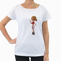 Skater Girl 4 Womens' Maternity T Shirt (white)