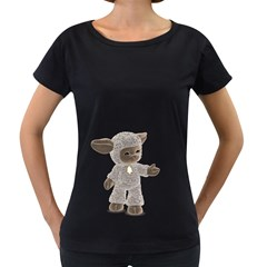 Lamb 1 Womens' Maternity T-shirt (Black)