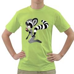 Anime Raccoon 2 Mens  T Shirt (green)