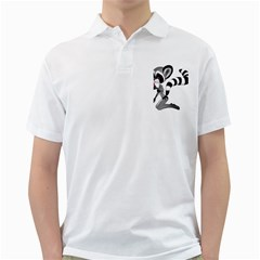 Anime Raccoon 2 Mens  Polo Shirt (White)