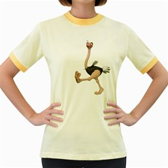 Ostrich 1 Womens  Ringer T-shirt (Colored)