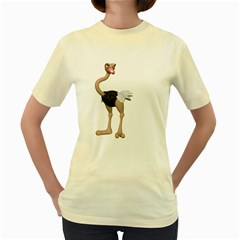 Ostrich 2  Womens  T-shirt (Yellow)