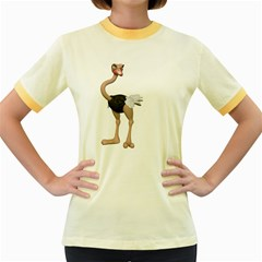 Ostrich 2 Womens  Ringer T Shirt (colored)