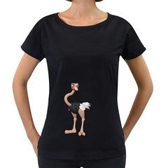 Ostrich 2 Womens' Maternity T Shirt (black)