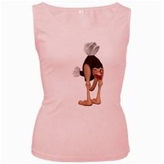 Ostrich 3 Womens  Tank Top (Pink)