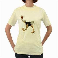 Ostrich 4  Womens  T-shirt (Yellow)