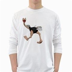 Ostrich 4 Mens' Long Sleeve T-shirt (White)