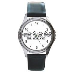 Banner Round Metal Watch (Silver Rim)