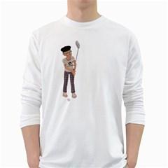 Golfer Mens' Long Sleeve T-shirt (White)