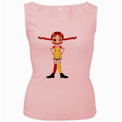 Naughty Girl 2 Womens  Tank Top (Pink)