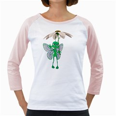Fly 4 Womens  Long Sleeve Raglan T Shirt (white)