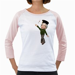 Einstein 1 Womens  Long Sleeve Raglan T-shirt (White)
