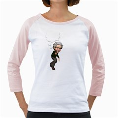 Einstein 2 Womens  Long Sleeve Raglan T-shirt (White)