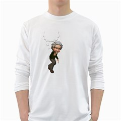 Einstein 2 Mens' Long Sleeve T-shirt (White)