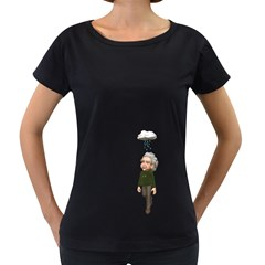 Einstein 3 Womens' Maternity T-shirt (Black)