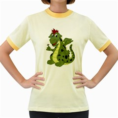 Cartoon Dragon Womens  Ringer T-shirt (Colored)
