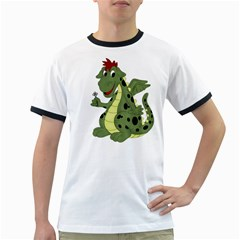 Cartoon Dragon Mens' Ringer T Shirt