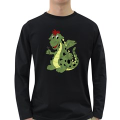 Cartoon Dragon Mens' Long Sleeve T Shirt (dark Colored)