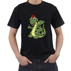 Cartoon Dragon Mens' T-shirt (Black)