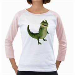 Toon Croco Womens  Long Sleeve Raglan T-shirt (White)