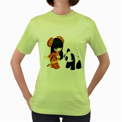 Kawaii China Girl 1 Womens  T Shirt (green)