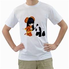 Kawaii China Girl 1 Mens  T-shirt (White)