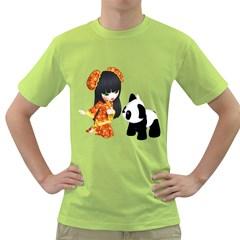 Kawaii China Girl 1 Mens  T-shirt (Green)