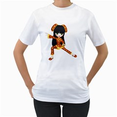 Kawaii China Girl 2 Womens  T-shirt (White)