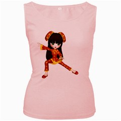 Kawaii China Girl 2 Womens  Tank Top (Pink)
