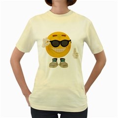 Holiday Smiley  Womens  T Shirt (yellow)
