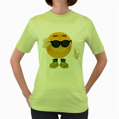 Holiday Smiley Womens  T Shirt (green)