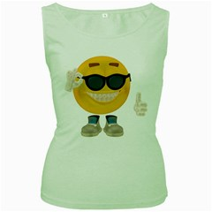 Holiday Smiley Womens  Tank Top (Green)