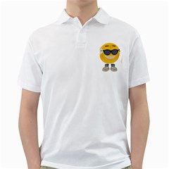Holiday Smiley Mens  Polo Shirt (White)