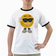 Holiday Smiley Mens' Ringer T-shirt