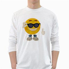 Holiday Smiley Mens' Long Sleeve T-shirt (White)