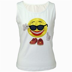 Holiday Woman Smiley Womens  Tank Top (White)