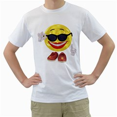 Holiday Woman Smiley Mens  T-shirt (White)