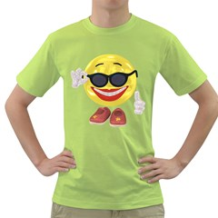 Holiday Woman Smiley Mens  T-shirt (Green)