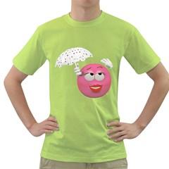 Umbrella Smiley Mens  T-shirt (Green)