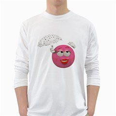 Umbrella Smiley Mens' Long Sleeve T Shirt (white)