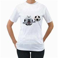 Soccer Smiley Womens  T-shirt (White)