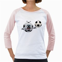 Soccer Smiley Womens  Long Sleeve Raglan T Shirt (white)