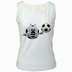 Soccer Smiley Womens  Tank Top (White)